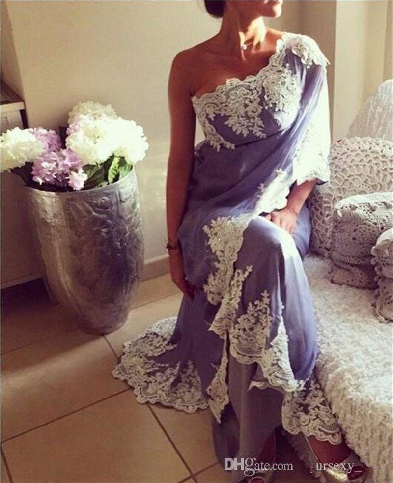 2019 Lavender Saudi Arabic Evening Dresses One Shoulder Appliques Lace Chiffon Indian Dubai Women Formal Evening Gowns Sexy Long Prom Dress