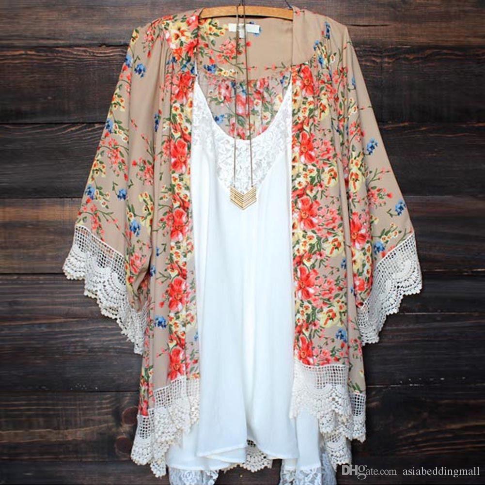 Vintage Frauen Blusen lose Chiffon Kimono Cardigan Blumendruck Spitze Saum Langarm Beachwear Casual Boho Oberbekleidung Top Khaki