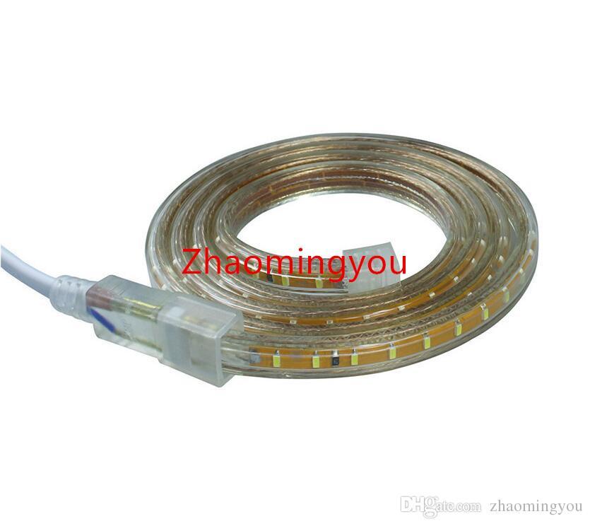 3014 levaram 120leds tira AC220V / branco impermeável medidor IP67 jardim ao ar livre luz branca / quente com brilho plugue alta UE