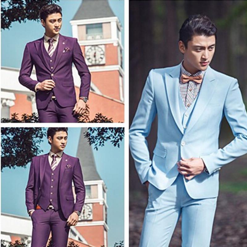 2018 Wholesale Light Blue Purple Wedding Men Suits Bridegroom ...
