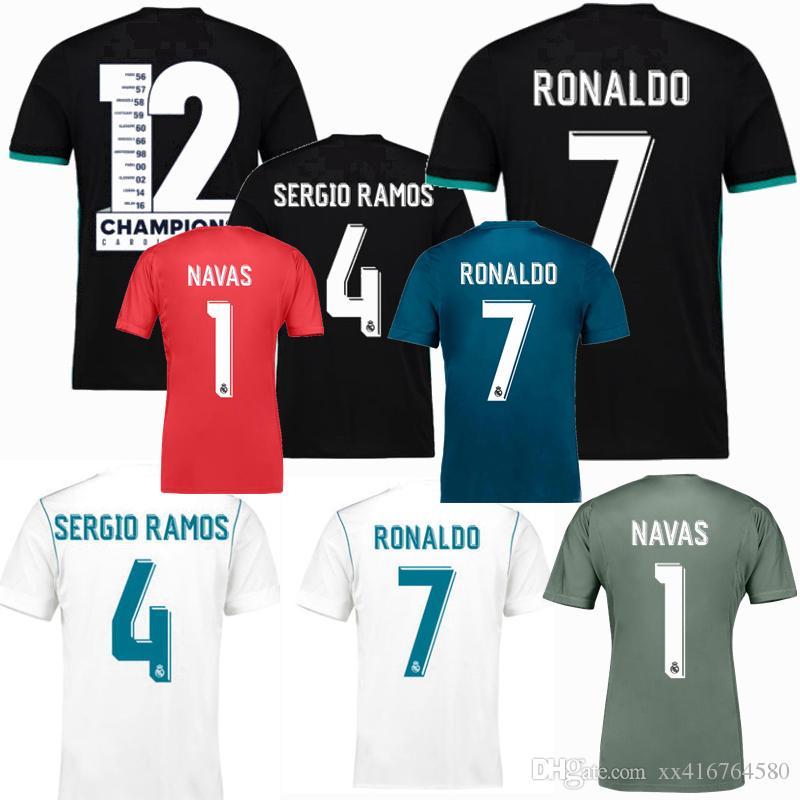 bd9e8b2f266 Acheter 2017 2018 Real Madrid Soccer Jersey 17 18 Maillots De Foot De La  Finale De La Ligue Des Champions RONALDO MARCELO ASENSIO NAVAS RAMOS ISCO  KROOS ...