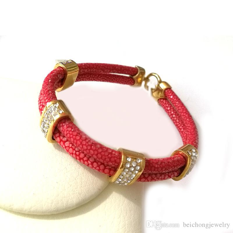 Beichong Luxury Unique Rose Gold White CZ Bracelet Genuine 5mm Brown Stingray Leather Bracelet Man Bangle For Sports Men Fit Watch
