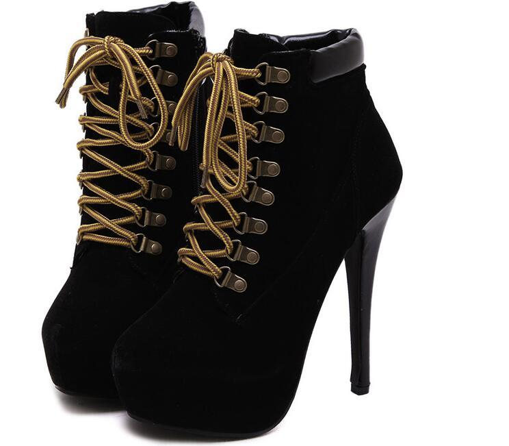 Winter Fashion Women Ankle Boots High Heels Platform Pumps Cotton cloth Stiletto Thin Heels Ankle Boots Red Bottoms Short Boots