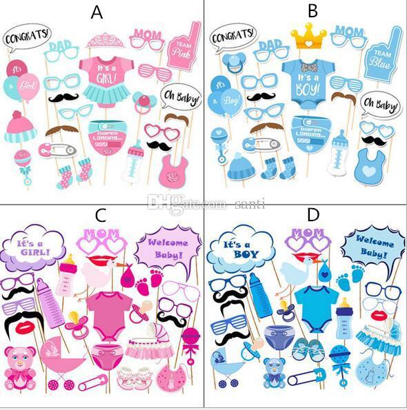 Photo Booth Props Fotografia máscara de papel Cartão menino menina Aniversário baby shower Decoração Do Partido Do Presente Do evento