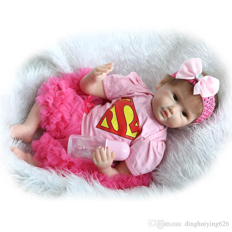 """22"""" Realistic Lovely Baby Girl Doll Reborn Girl Baby Doll Toy Christmas Gift Doll with Magnet Pacifier in Pink Dress"""