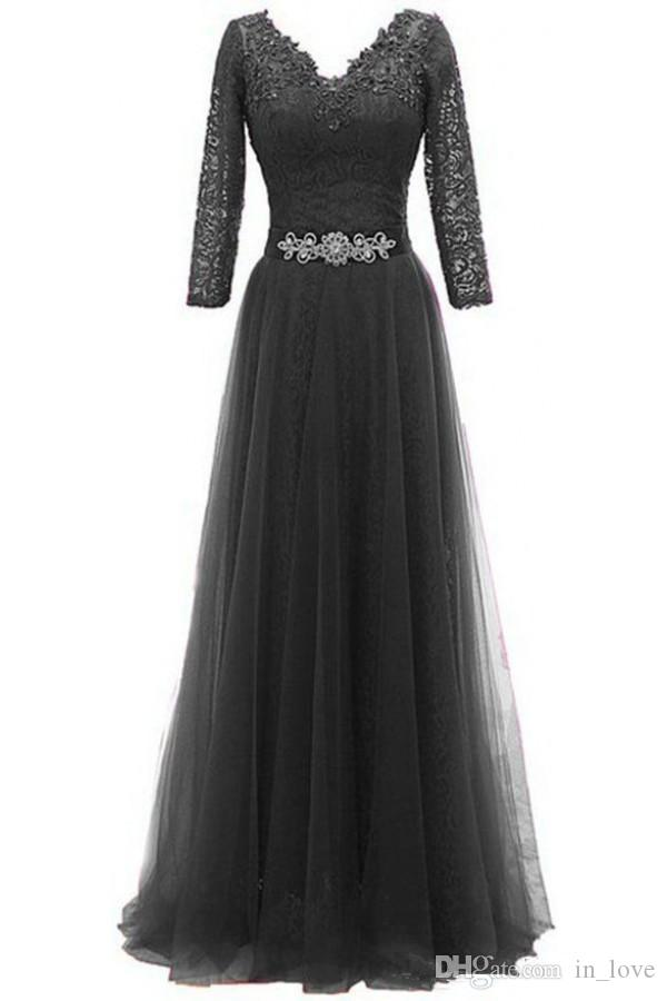 A Line Long Mother of the Bride Dresses Long Sleeve Lace Beading Belt Tulle Skirt Floor Length Women Formal Gowns Custom Size