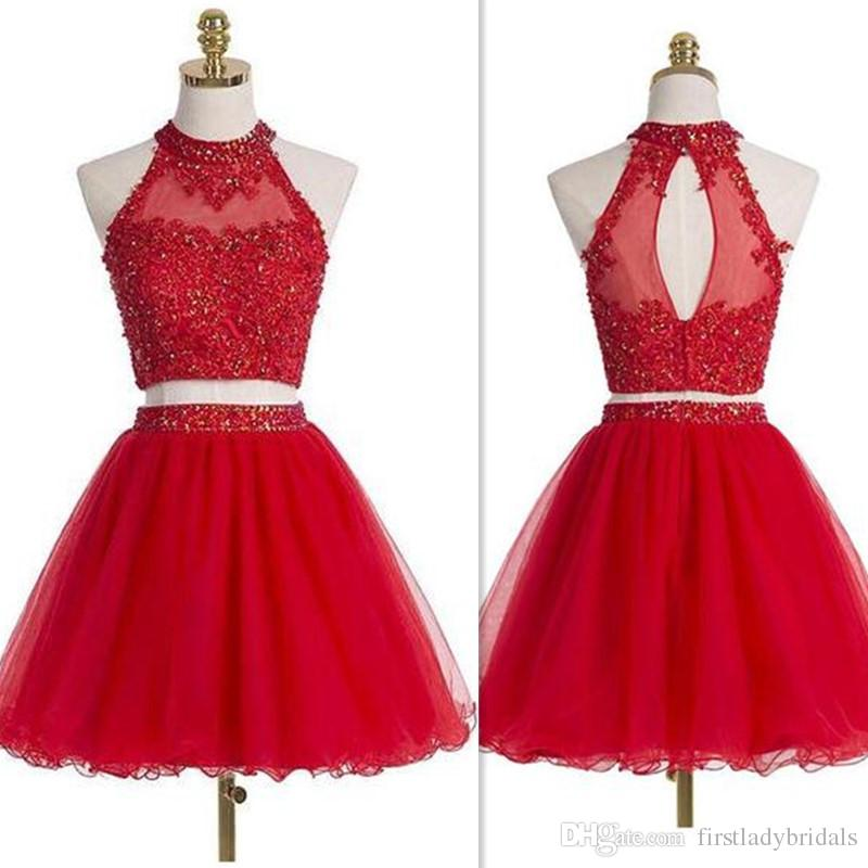 f035c158ad Short Homecoming Dress 2017 Red Lace Appliques Sheer Halter Neck Mini Prom  Gowns Beaded Tulle Open Back Sexy Cocktail Party Dress Red Long Homecoming  ...