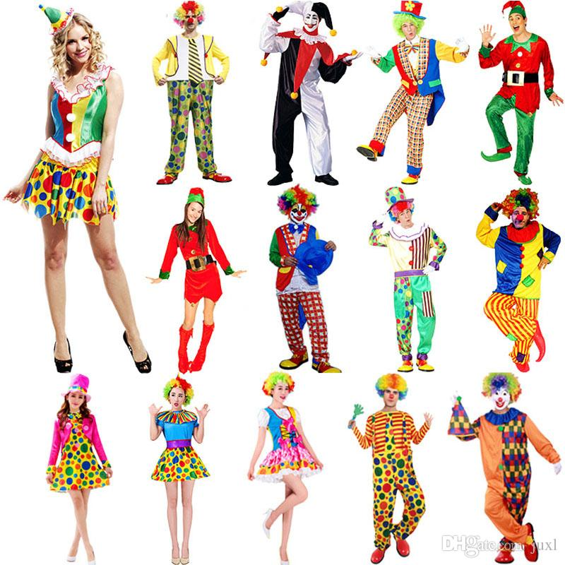 2018 Adults Clown Cosplay Costume Amusement Park Performance Clothing Women Men Halloween Party Supplies New Year Halloween Costumes Four People Halloween ...  sc 1 st  DHgate.com & 2018 Adults Clown Cosplay Costume Amusement Park Performance ...