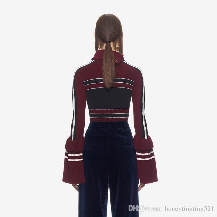 Autumn winter New design women's turn down collar lacing bandage long sleeve flare sleeve knitted stripe sweater pullover tops