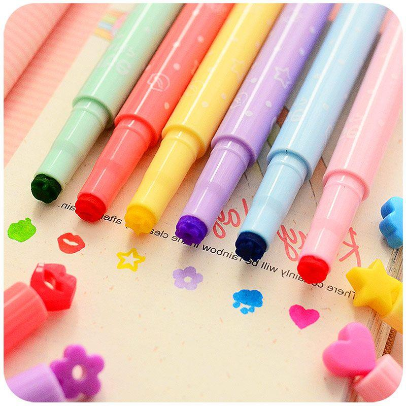 2018 Wholesale Cute Candy Color Kawaii Highlighters Inks Stamp Pen Creative Marker School Supplies Office Stationery From Williem 3167