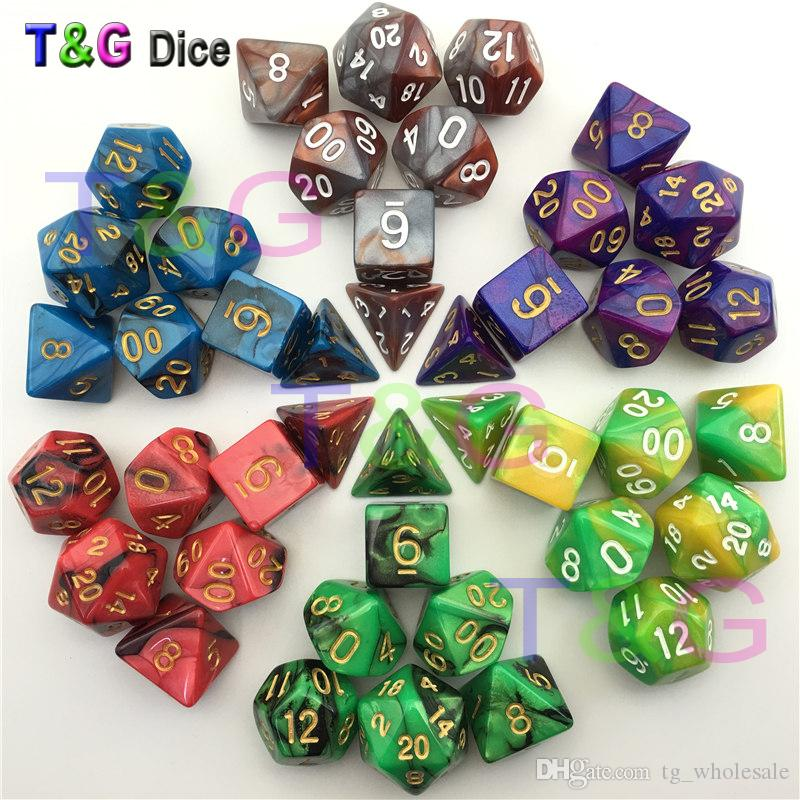 2019 Top Quality Mix Color Dice Set With Nebula Effect Juegos De