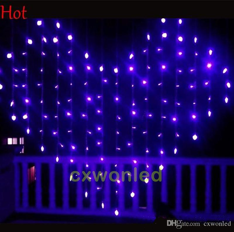 심장 모양 LED 문자열 커튼 빛 220V 110V 124leds 1.5m * 1.2m 웨딩 크리스마스 장식 조명