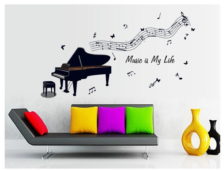 Music Is My Life Piano Notes Removable Wall Stickers Childrenu0027s Bedroom  Wall Stickers Decorative Background Mural Decals 120*67cm