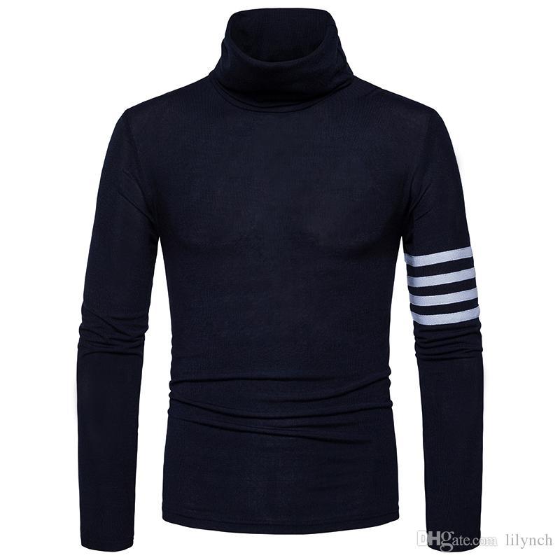 2017 sonbahar kış Avrupa yeni yüksek boyunlu kazak Koreli erkek öz-yetiştirme kazak marka giyim katı renk uzun kollu Ince