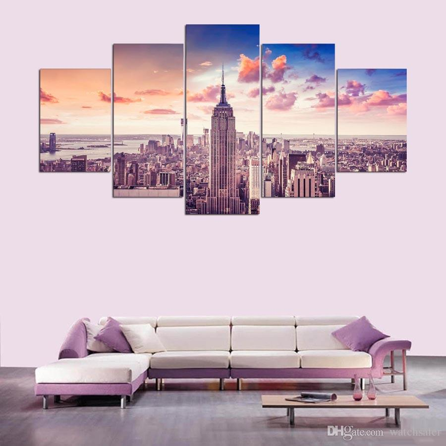 5 Panel Framed HD Printed New York City Sunset Large Poster Canvas Oil Painting Wall Pictures For Living Room