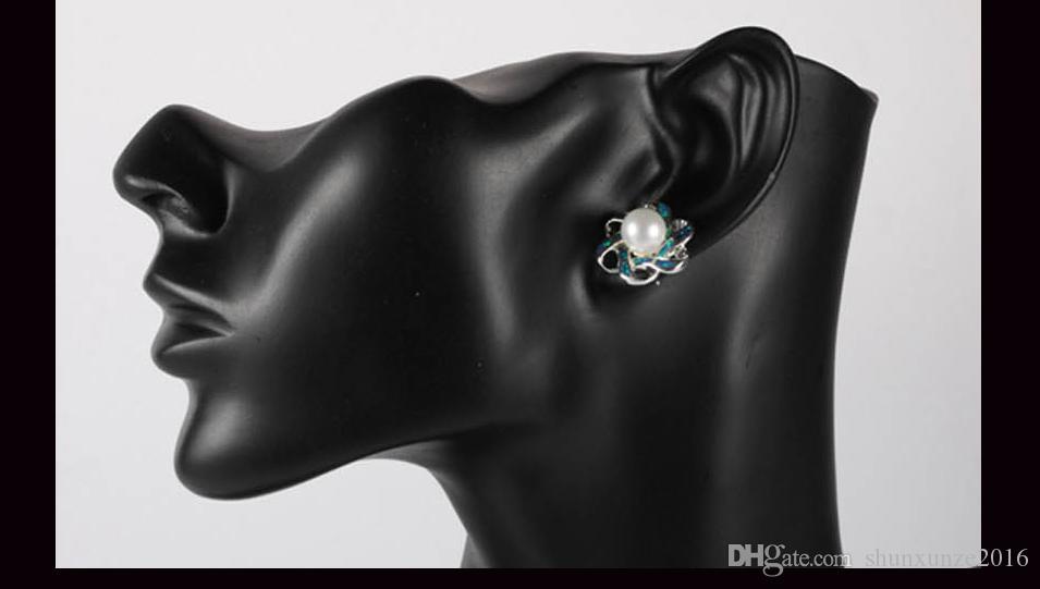 Kupfer Rhodium überzogene romantische Ohrringe weiße Perleund blauer Opal MN4102 Shinning Bestseller Explosion Modelle Zeitlich begrenzter Rabatt Punk