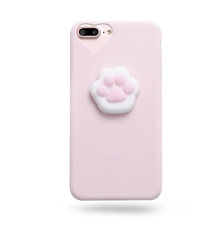 Cat Funny 3D Cartoon Catty Cat Phones Case Silicona Squeeze Stress Relieve Squishy TPU Suave para Samsung s7 iphone 6s 7 8 plus