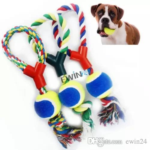 Large Dog Play Strong Rope Tennis Ball Throw Tugger Pet Puppy Playing Fetch Chew Bit Toys