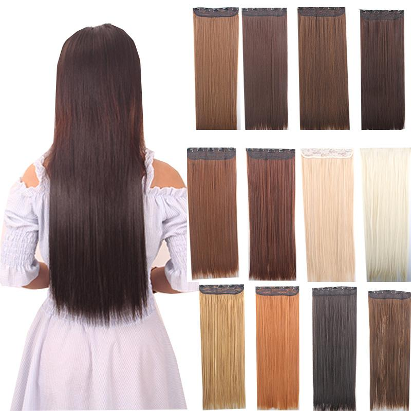 clip in hair extensions 24inch 60cm 120g 5clips long straight synthetic hair clip in synthetic. Black Bedroom Furniture Sets. Home Design Ideas