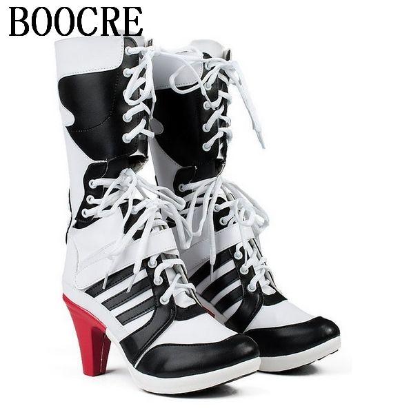 hot sale online f52ac 2c348 Vendita all ingrosso-Hot vendita speciale Suicide Squad clown harley quinn  stivali cosplay donne scarpe personalizzate
