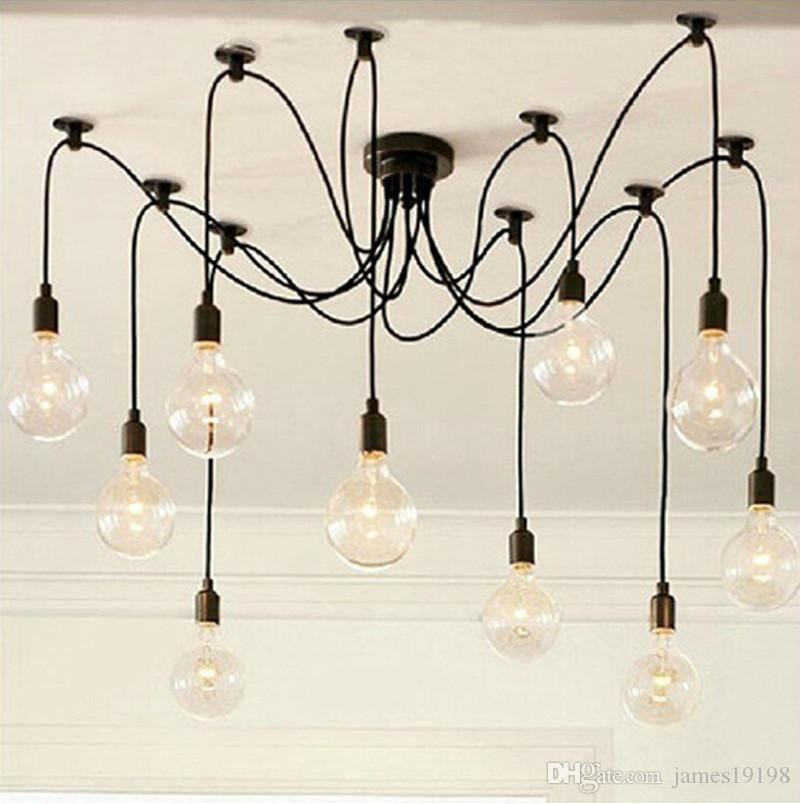 MODERN 이미지 위로 마우스를 올려 줌 New-Industrial-Vintage-Edison- 펜던트 - 복고풍 샹들리에 라이트 전구 포함 New-Industrial-Vintage