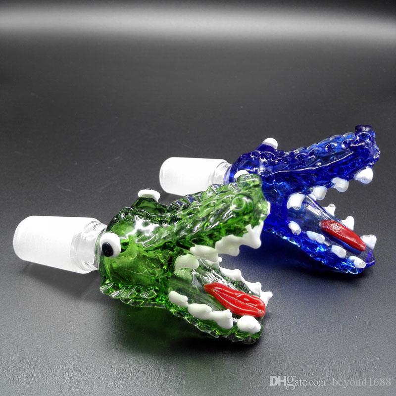 Toptan Yeni Timsah Başkanı Cam Kase Mavi Yeşil Ile 14mm 18mm Erkek Ortak Cam Kaseler Için Yağ Kuleleri Cam Bongs