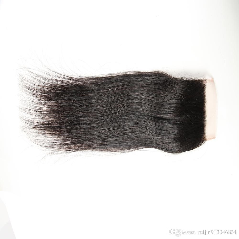 7A grade straight hair 3 bundles with 4X4 closure cheap price no shedding no tangle 100% brazilian virgin human hair