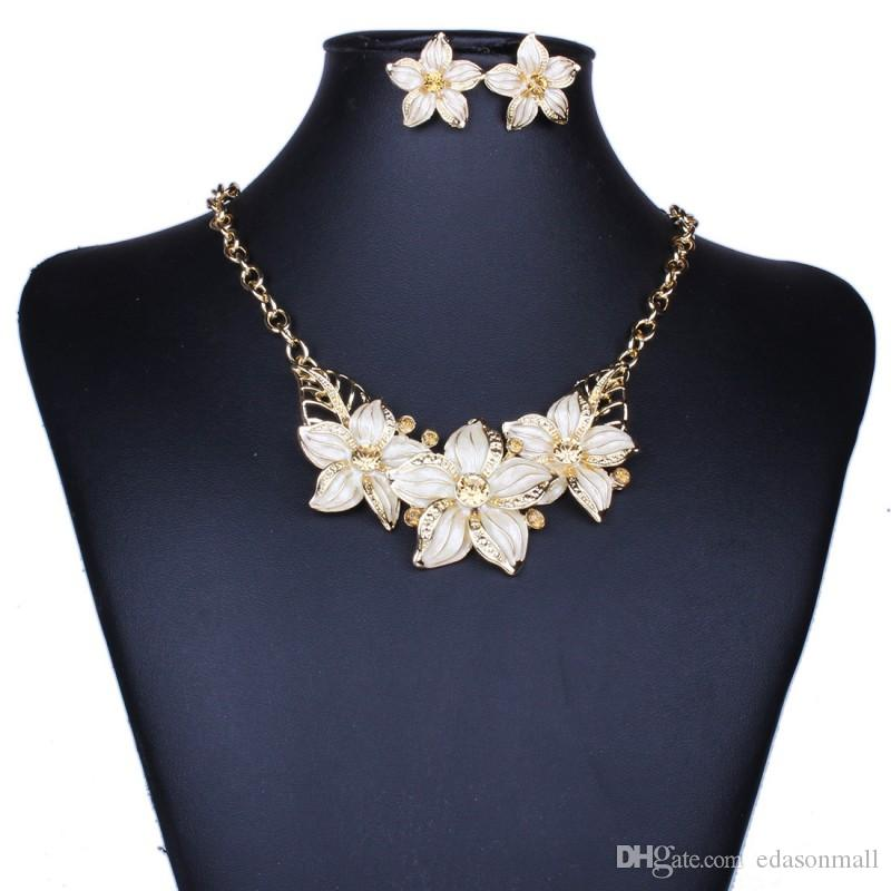 Nouveaux ensembles de bijoux Collier boucles d'oreilles diamant émail fleur Europe et Amérique bijoux mariage pendentif mariée robe partie accessoires J14S