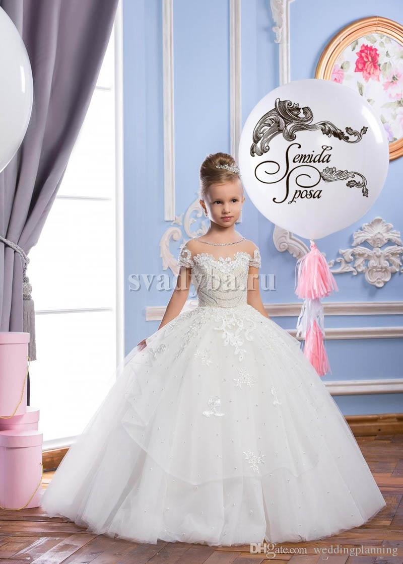 Newest Lace Sheer Neck Tulle Arabic Style Flower Girl Dresses Vintage Girl Tutu Pageant Dresses Formal Flower Girl Dresses For Wedding