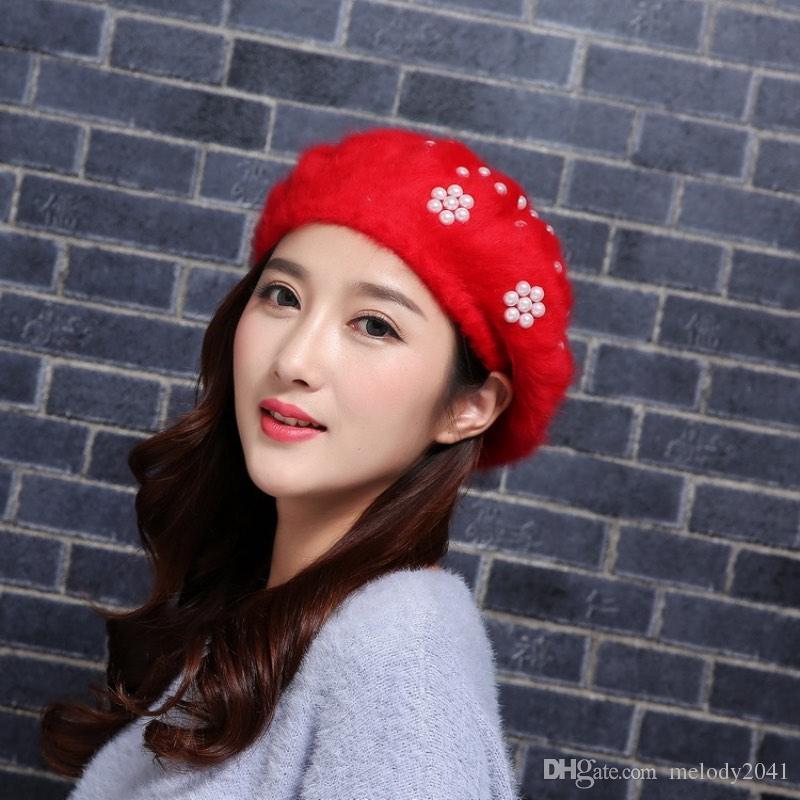e9ecaf0cb61c2 2017 Autumn And Winter Fashion Women Pull Pull Cap Pearl Hat Rabbit ...