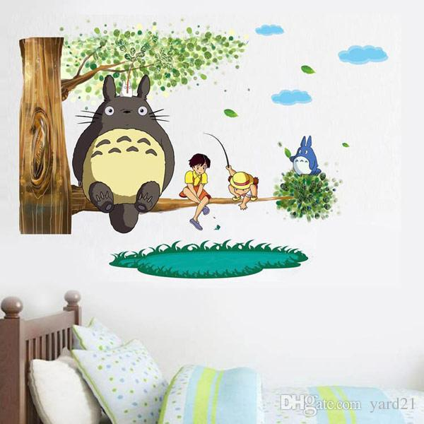 cartoon totoro wall stickers removable art decal mural for kids boys