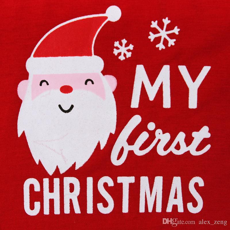 DHL 2 Stili Baby Christmas Sets Moda Baby Natale Babbo Natale manica lunga pagliaccetti + pantaloni a righe 2 pezzi vestito di natale cervi neonato tuta se