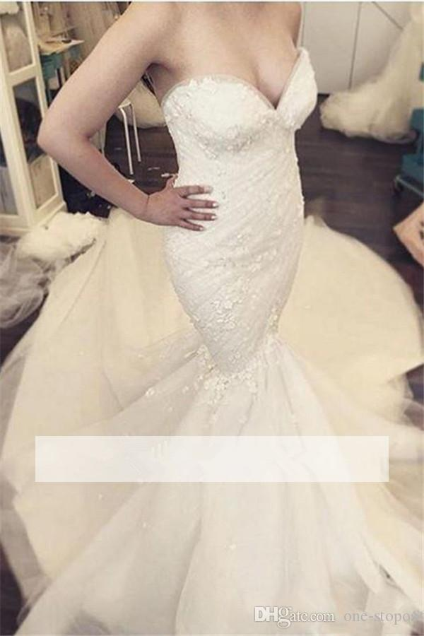 Royal 2017 Mermaid Wedding Dresses with Detachable Skirt 3D Lace Appliques Sweetheart vestido de novia Sexy Trumpet Bridal Gowns