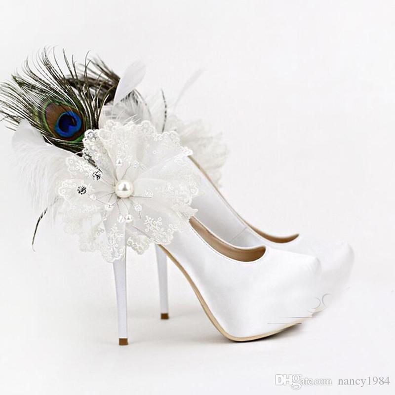 Appliques de luxe et plumes femmes talons hauts blanc chaussures de mariage en satin 5.5 pouces talon mode plate-forme mère de chaussures de mariée