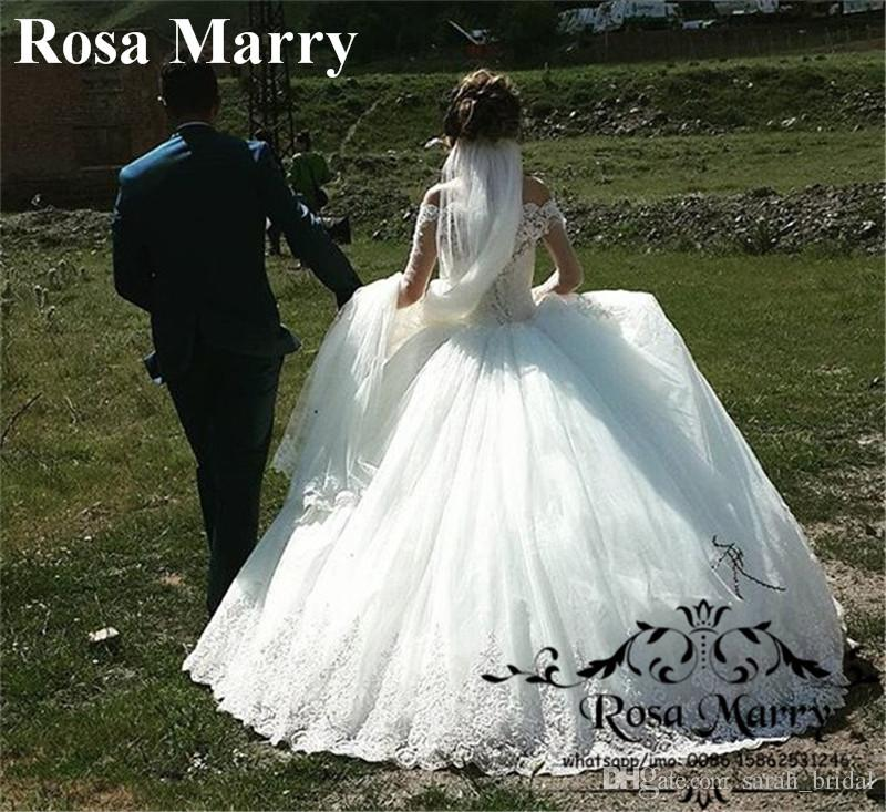 Victorian Off Shoulder Ball Gown Wedding Dresses 2018 Vintage Lace Long Sleeves Sequined Beaded Muslim Arabic Bridal Gowns Vestido De Novia