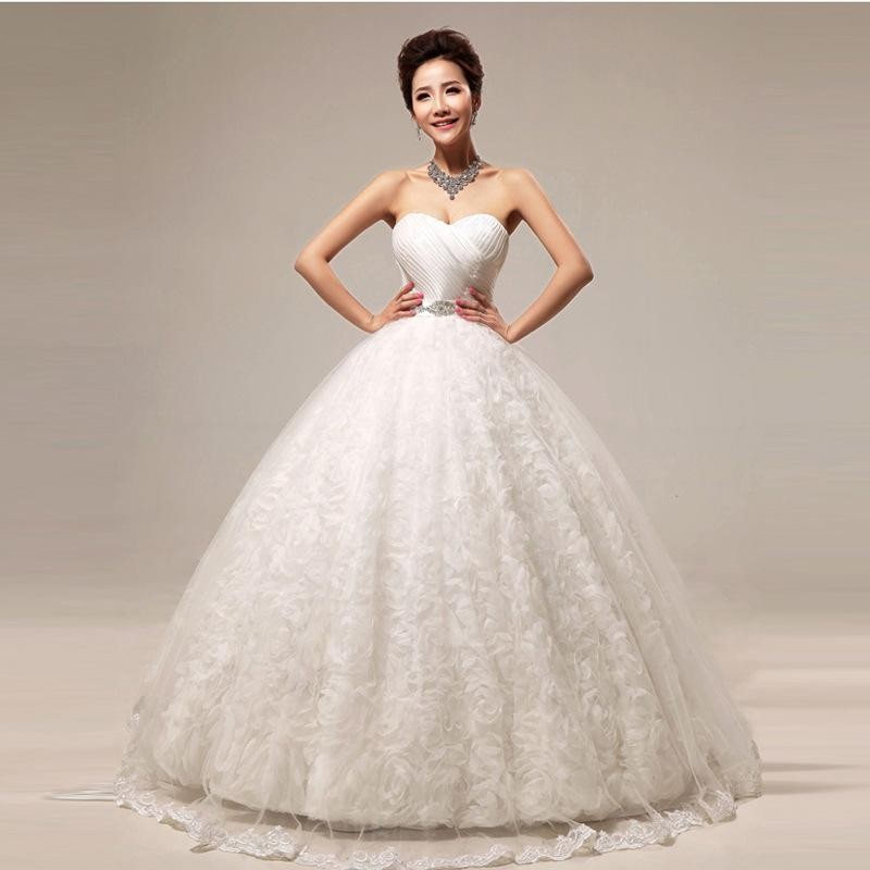 2018 New Bridal Wedding Gowns Ball Gown Floor Length Lace Up Strapless Sweetheart Sexy Luxury Beach Party Dresses Under 200 Hs295 On