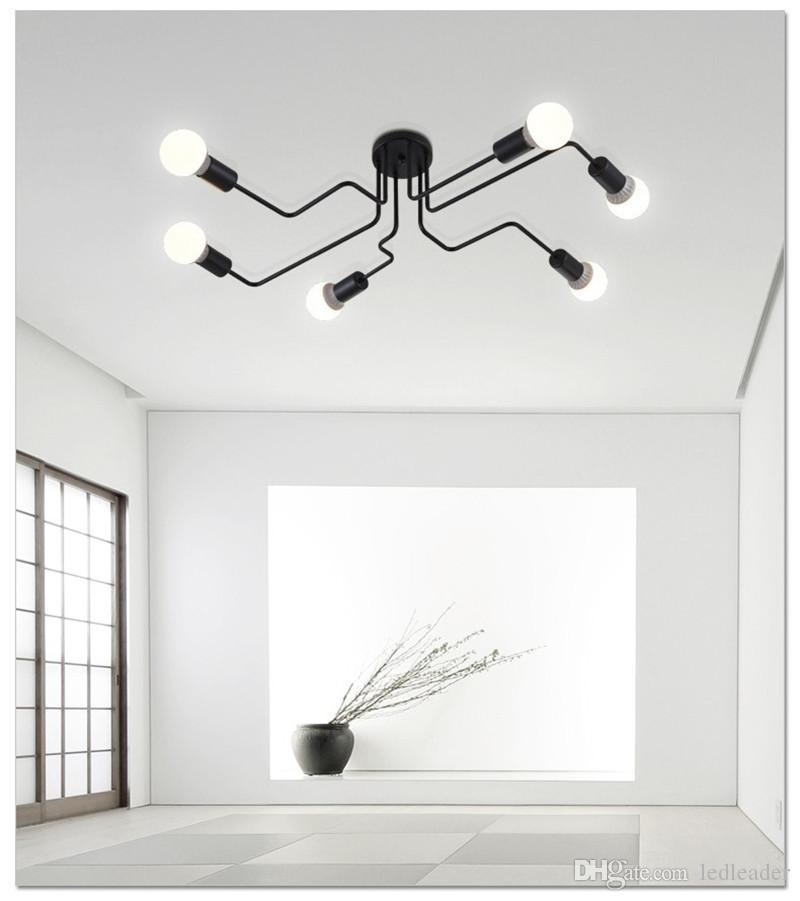 L1-6 Heads Multiple Rod Wrought Iron Ceiling Light Retro Industrial Loft Nordic Dome Lamp for Home Decor Dinning Cafe Bar
