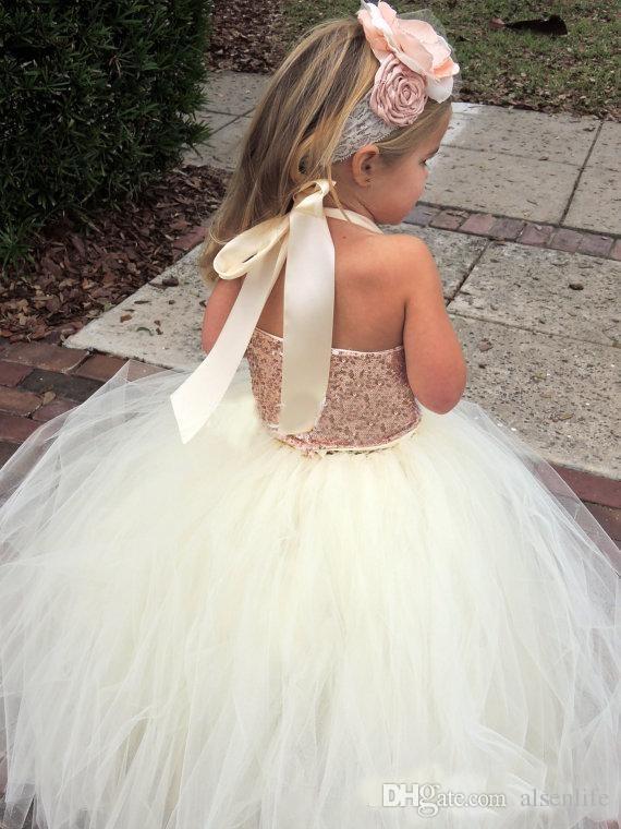 Cute Ivory Flower Girl Dresses 2015 Bling Rose Gold Sequin Halter Tutu Floor Length Ball Gown Cheap Custom Made Little Girls Pageant Dresses