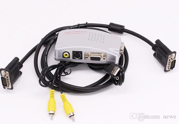 PC VGA para TV AV RCA Conversor Adaptador Video Switch Box