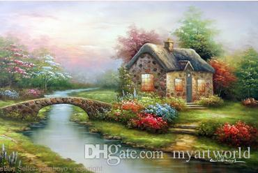 2018 Framed English Stone Country Cottage Sunset Stream Bridge Pure Hand Painted Landscape Scenes Art Oil Painting CanvasMulti Sizes Available J From