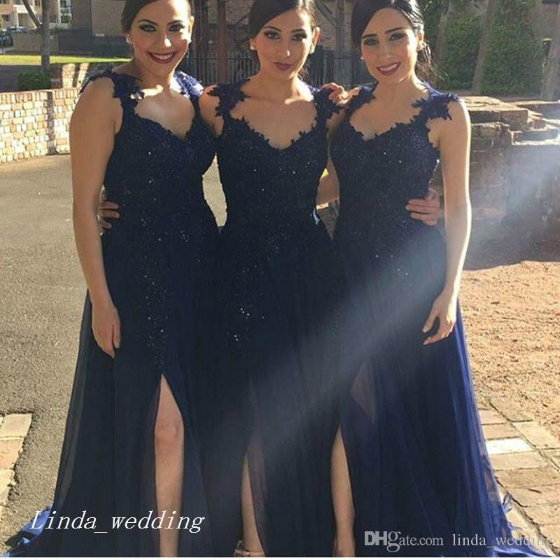 Escuro Azul Marinho Longo País Da Dama de Honra Vestido Elegante Fenda Lateral Chiffon Rendas Mulheres Desgaste Formal Maid of Honor Vestido Para O Vestido de Festa de Casamento