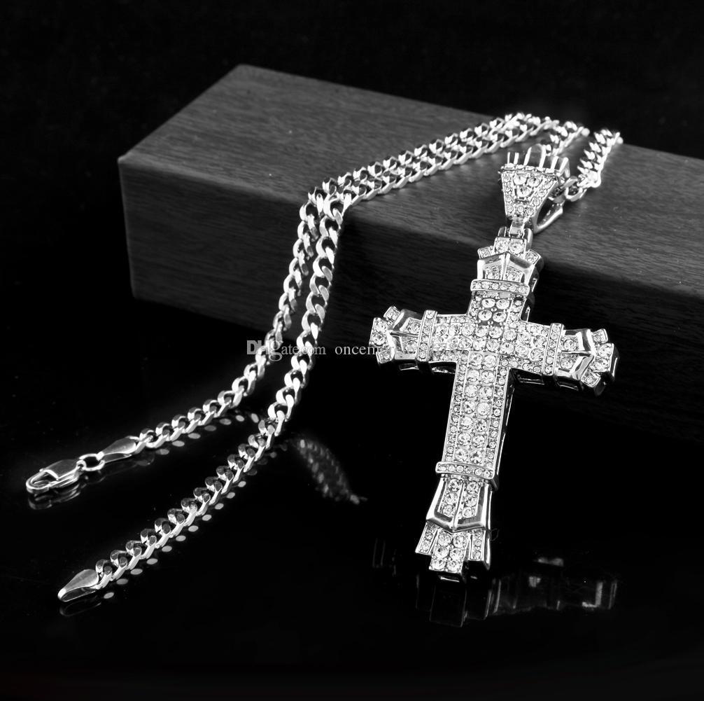 New Retro Silver Cross Charm Pendentif Full Ice Out CZ Diamants Simulés Catholique Crucifix Pendentif Collier Avec Longue Chaîne Cubaine