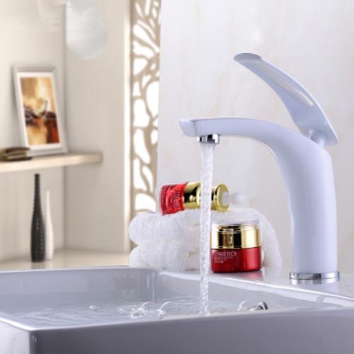 크리 에이 티브 컬러 전체 구리 따뜻한 것과 차가운 물 탭 무대 분지 욕실 싱크 욕실 수도꼭지
