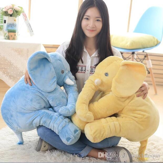 أكبر 60 سنتيمتر الرضع لينة استرضاء الفيل رفيق اللعب دمية طفل لعب الفيل وسادة أفخم لعب محشوة دمية فتاة صديق هدية أولا
