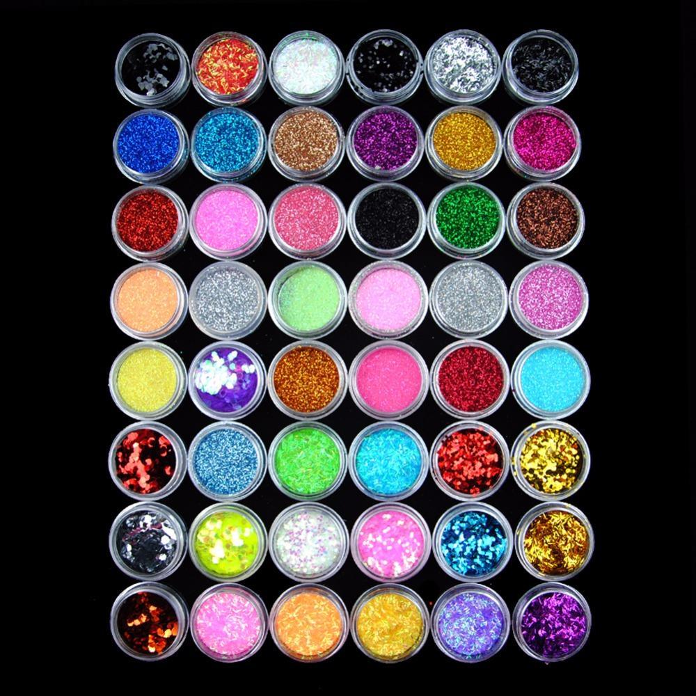 Tools Sets Kits 48 Glitter Powder Manicure Nail Kit Rhinestones 3d ...