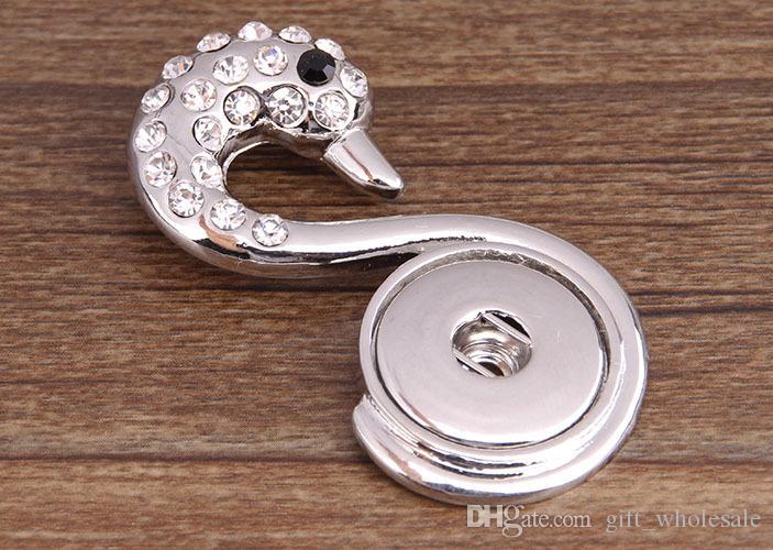 2020 Strass Animal Vintage Sistema bianco pulsante del modello Collana Ginger fai da te Snap trasporto libero dei monili ALL'INGROSSO