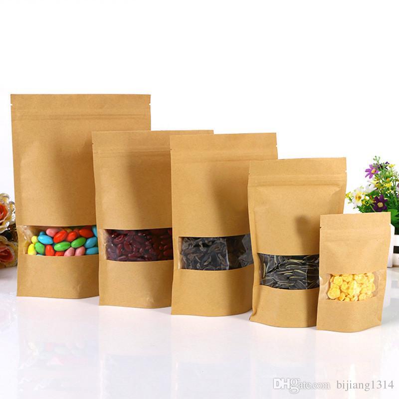 gro handel 14x20cm kraftpapier stand up food bags 300 st ck zip lock sealing beutel mit. Black Bedroom Furniture Sets. Home Design Ideas