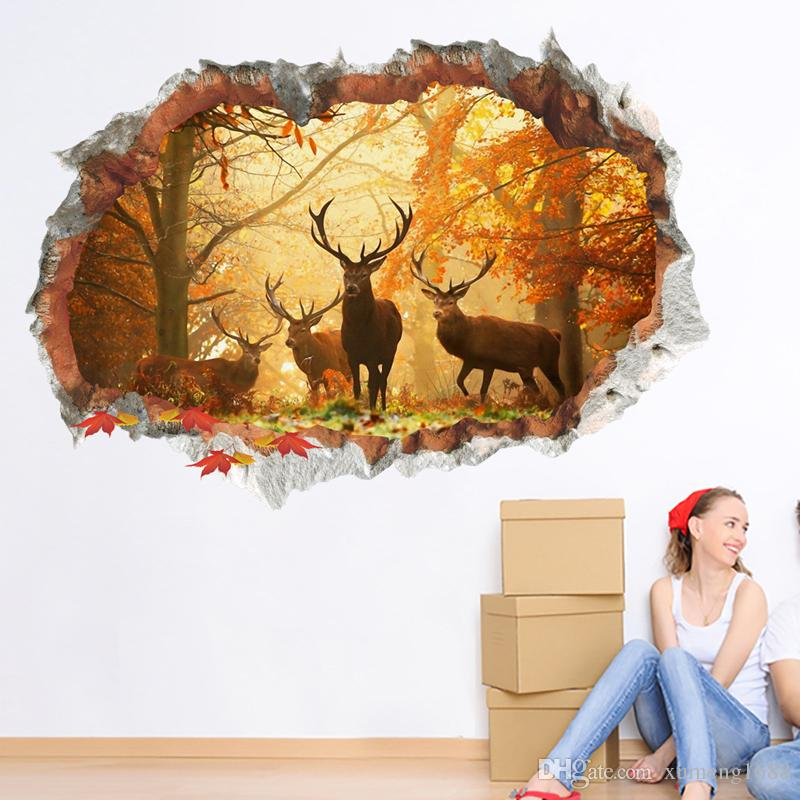 3D Broken Deer Elk Forest Wall Sticker Children Room Removable for Home Decoration TV Background Decals Art Stickers