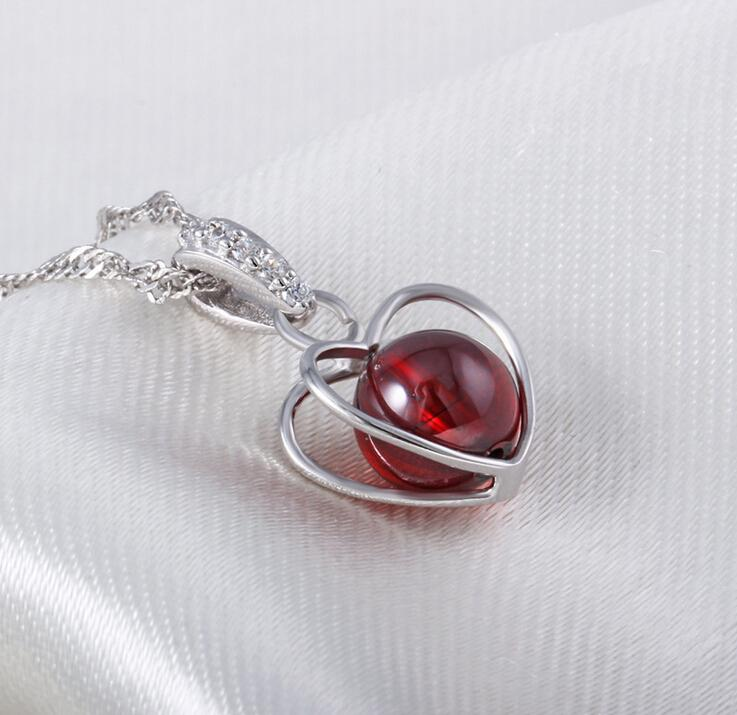 Fire Opal Pendant High Quality Natural Stone 925 Sterling Silver Necklace Love Heart Garnet Pendant Bohemian Women Stone Jewelry Ladies Girl