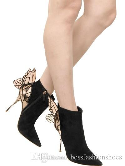 Frühling Herbst Engelsflügel Lady Spitz Sexy Stiletto High Heels Stiefel Schmetterling Schwarz Wildleder Frau Stiefeletten Schuhe T-stage Pumpen 35-42